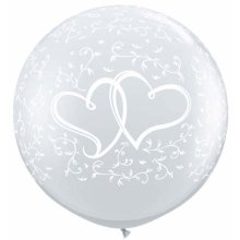 3ft Entwined Hearts-A-Round Diamond Clear Latex Balloons - 2ct